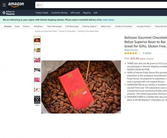 Barra de Belice disponible en Amazon